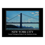 New York City skyline, George Washington Bridge Print