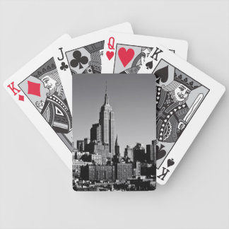 New York City Skyline in Black and White Bicycle Playing Cards