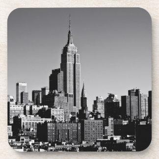New York City Skyline in Black and White Beverage Coaster