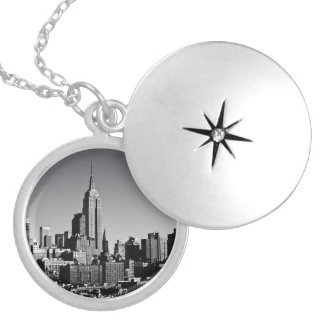 New York City Skyline in Black and White Locket Necklace