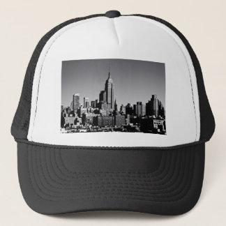 New York City Skyline in Black and White Trucker Hat