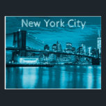 "New York City Skyline in Blue Postcard<br><div class=""desc"">Let a loved one know that you are thinking of them with this postcard. In the age of technology and social media, sending a postcard demonstrates that you are truly thinking of them. A genuine gesture of kindness, this postcard features the New York Skyline depicted in blue. Send to a...</div>"