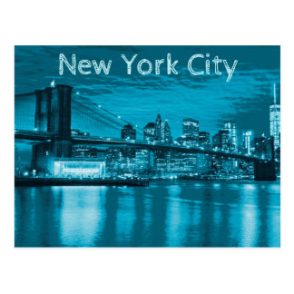 New York City Skyline in Blue Postcard
