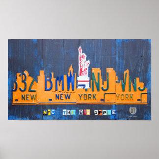 New York City Skyline License Plate Art Poster
