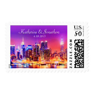 New York City Skyline Lit Up Wedding Postage