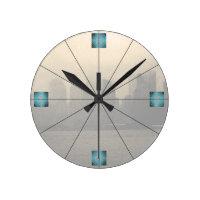 New York City Skyline NYC CricketDiane Round Clock