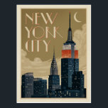 "New York City Skyline Postcard<br><div class=""desc"">Anderson Design Group is an award-winning illustration and design firm in Nashville,  Tennessee. Founder Joel Anderson directs a team of talented artists to create original poster art that looks like classic vintage advertising prints from the 1920s to the 1960s.</div>"