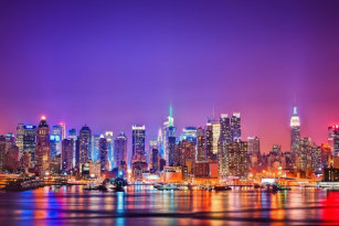 New York City Skyline Poster Color
