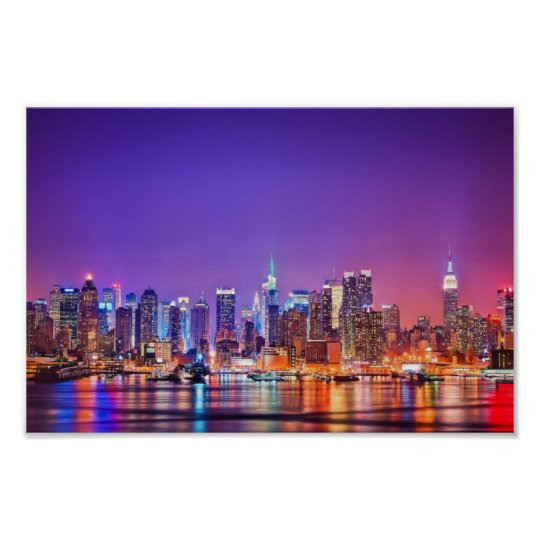 new york city skyline poster color zazzle. Black Bedroom Furniture Sets. Home Design Ideas