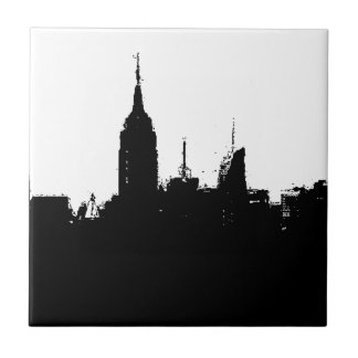 New York City Skyline Silhouette Square Tile