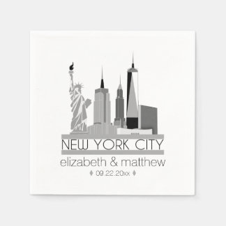 New York City Skyline Wedding Paper Napkin