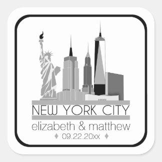 New York City Skyline Wedding Square Sticker