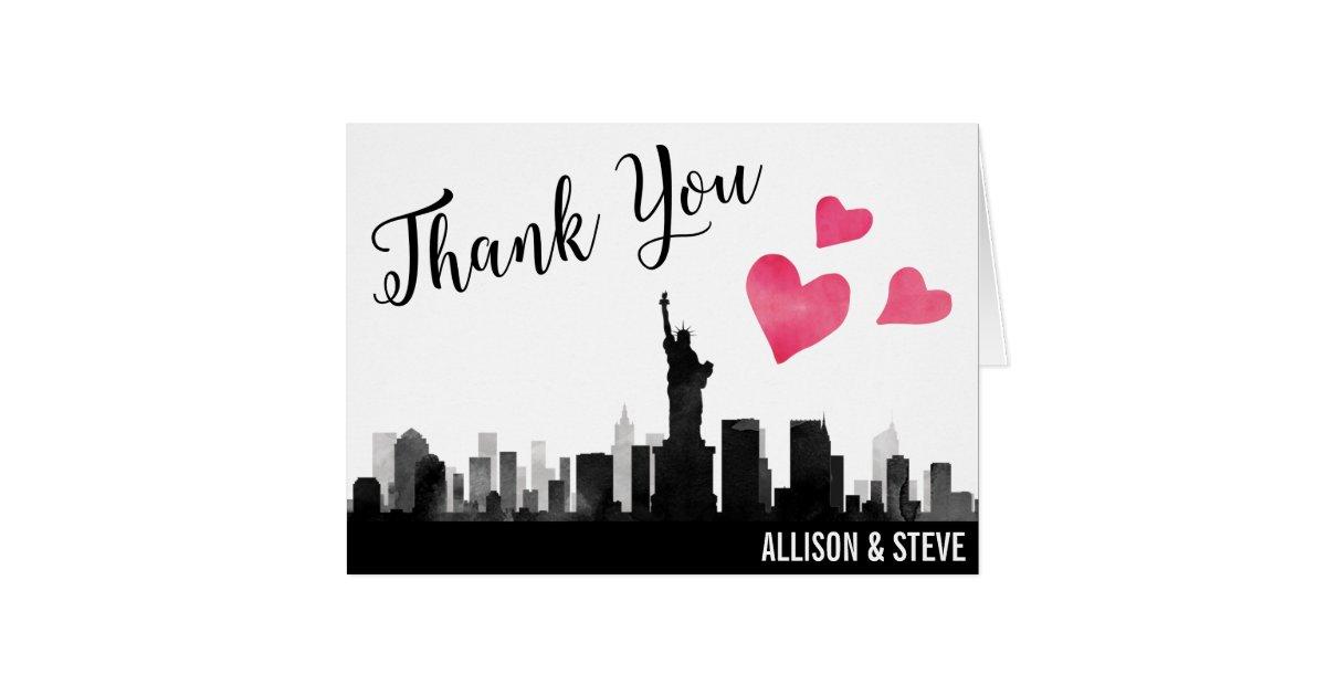New York City Skyline Wedding Thank You Card Zazzle Com
