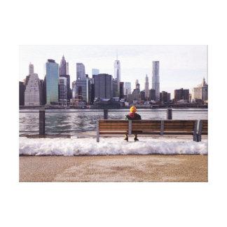 New York city skyline winter Canvas Print