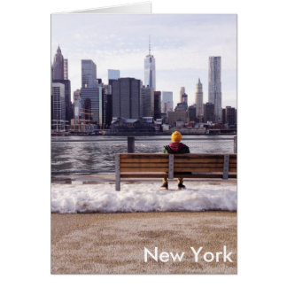 New York city skyline winter Card