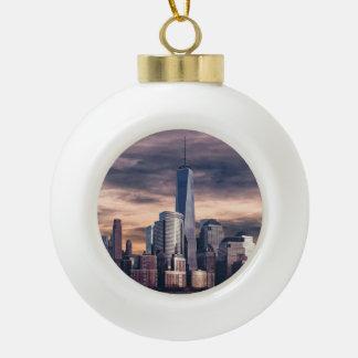 New York City Skyline Winter Ceramic Ball Christmas Ornament