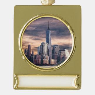 New York City Skyline Winter Gold Plated Banner Ornament