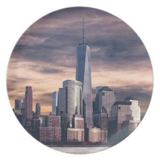 New York City Skyline Winter Melamine Plate