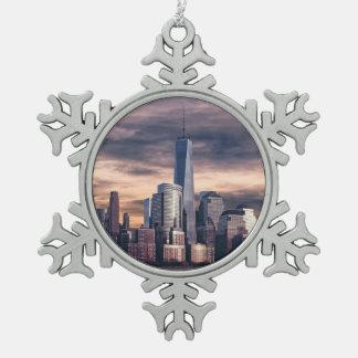 New York City Skyline Winter Snowflake Pewter Christmas Ornament