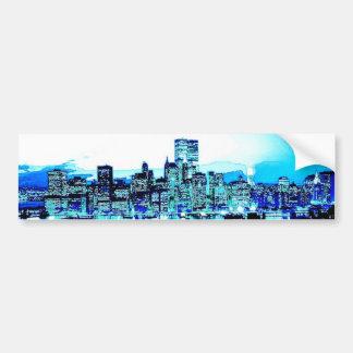 New York City Skyscrapers at Night Bumper Sticker