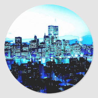 New York City Skyscrapers at Night Classic Round Sticker