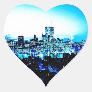 New York City Skyscrapers at Night Heart Sticker