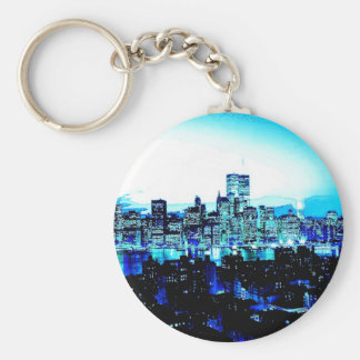 New York City Skyscrapers at Night Keychains