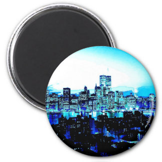 New York City Skyscrapers at Night 2 Inch Round Magnet