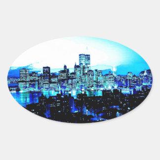 New York City Skyscrapers at Night Oval Sticker