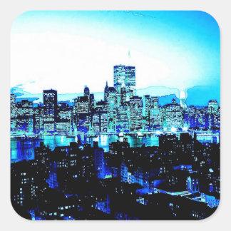 New York City Skyscrapers at Night Square Sticker