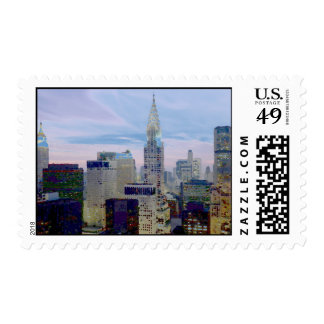 New York City Skyscrapers Pop Art Stamps