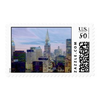 New York City Skyscrapers Pop Art Stamps