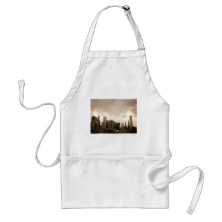 New York City Skyscrapers With Clouds Adult Apron