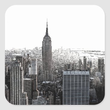 USA Themed New York City Square Sticker