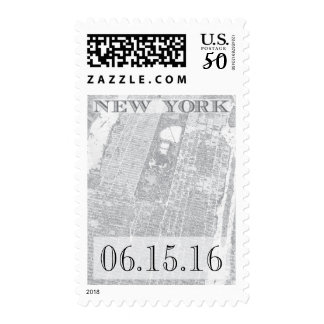 New York City stamp - Vintage Map - Custom Date