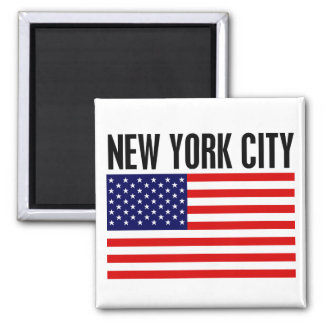 New York City, Stars and Stripes 2 Inch Square Magnet