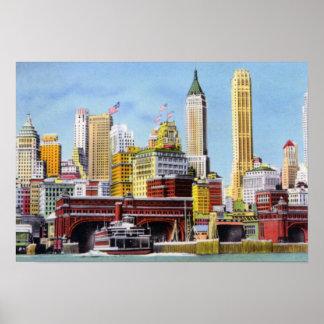 New York City Staten Island Ferry and Skyline Poster