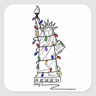 New York City Statue of Liberty Christmas Lights Square Sticker
