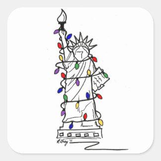 New York City Statue of Liberty Christmas Sticker