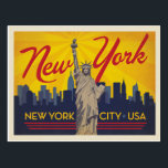"New York City | Statue of Liberty Postcard<br><div class=""desc"">Anderson Design Group is an award-winning illustration and design firm in Nashville,  Tennessee. Founder Joel Anderson directs a team of talented artists to create original poster art that looks like classic vintage advertising prints from the 1920s to the 1960s.</div>"
