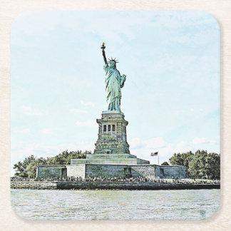 New York City - Statue of Liberty Square Paper Coaster