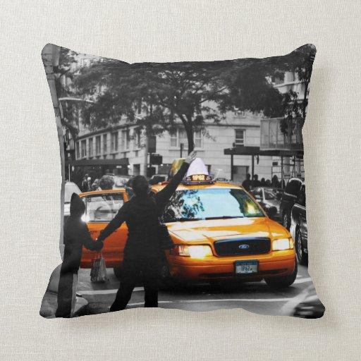 New York City Street Scene Throw Pillows