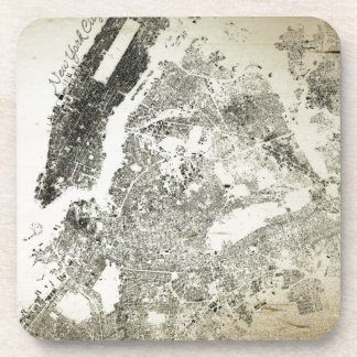 New York City Streets and Buildings Vintage Map Beverage Coaster