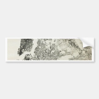 New York City Streets and Buildings Vintage Map Bumper Sticker