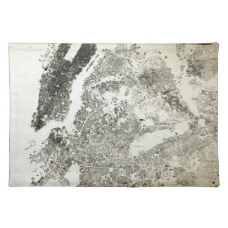 New York City Streets and Buildings Vintage Map Cloth Placemat