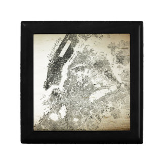New York City Streets and Buildings Vintage Map Jewelry Box