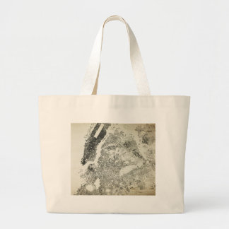 New York City Streets and Buildings Vintage Map Large Tote Bag