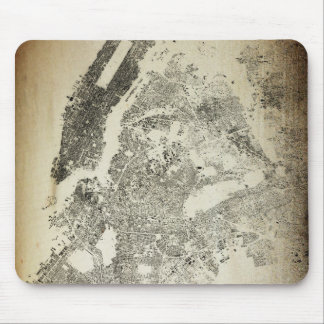 New York City Streets and Buildings Vintage Map Mouse Pad