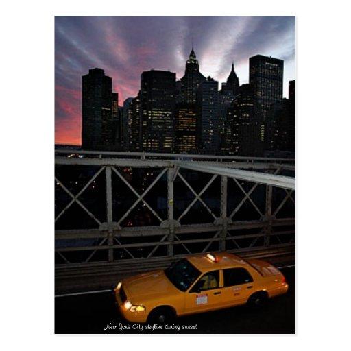 NEW YORK CITY SUNSET POST CARD