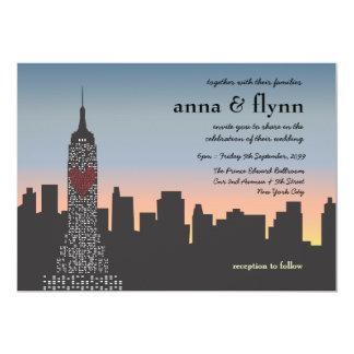 "New York City Sunset Skyline Wedding Invitation 5"" X 7"" Invitation Card"